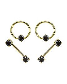 Black CZ Barbell Captive Ring 4 Pack - 14 Gauge