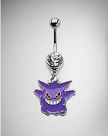 CZ Gengar Pokemon Dangle Belly Ring - 14 Gauge