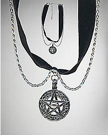 Pentagram Velvet Choker Necklace