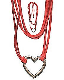 Suede Heart Choker Necklace