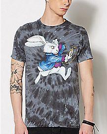 Tie Dye Alice in Wonderland White Rabbit T Shirt
