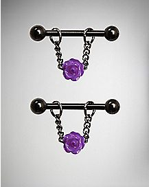 Purple Rose Nipple Barbells - 14 Gauge