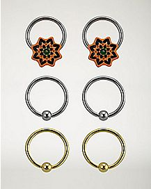 Mandala Captive Rings - 3 Pack - 16 Gauge