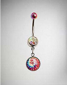 Rainbow Tie Dye Dangle Belly Ring - 14 Gauge