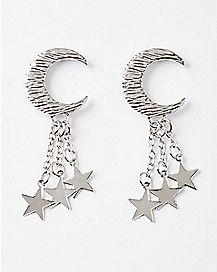 Moon and Stars Dangle Stud Earrings