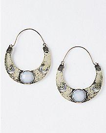 Burnt Opal-Effect Moon Hoop Earring