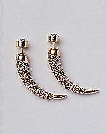Gold CZ Horn Earrings