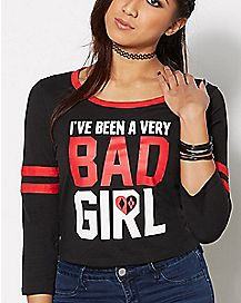 Bad Girl Harley Quinn Raglan Shirt - DC Comics
