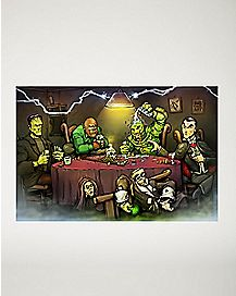Monsters Playing Poker Poster