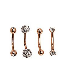 Rose Gold CZ Eyebrow Ring 4 Pack - 16 Gauge