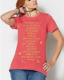 Spells List T Shirt - Harry Potter