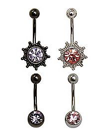 Beaded Belly Rings - 14 Gauge - 4 Pack