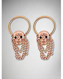 Rose Gold Skull Chain Captive Nipple Ring 2 Pack - 14 Gauge