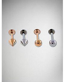 Metal Labret Lip Ring 4 Pack - 16 Gauge