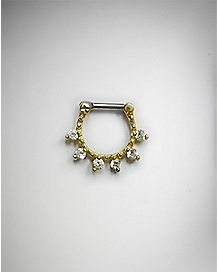 CZ Clicker Septum Ring - 16 Gauge