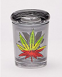 Tinted Rasta Pot Leaf Storage Jar - 3 oz