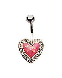 Pink Heart Belly Ring - 14 Gauge