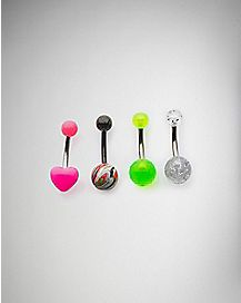 Neon Heart Belly Ring 4 Pack - 14 Gauge