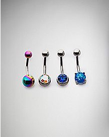 CZ Belly Rings 4 Pack - 14 Gauge