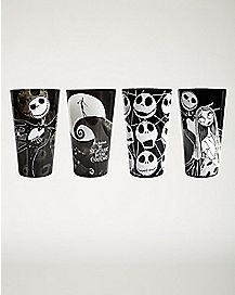 Black and White Nightmare Before Christmas Pint Glass 4 Pack - 16 oz.