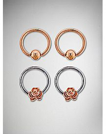 Rose Captive Ring 4 Pack - 14 Gauge