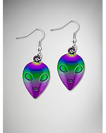 Metallic Alien Face Dangle Earrings