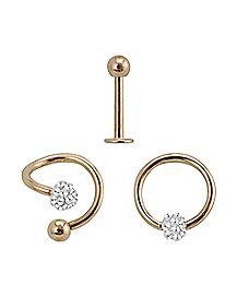 Clear CZ Lip Ring 3 Pack - 16 Gauge