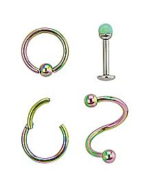Green Opal-Effect Lip Ring 4 Pack - 16 Gauge