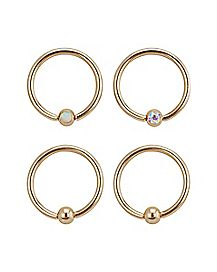 AB and Opal-Effect Captive Hoop 4 Pack - 16 Gauge