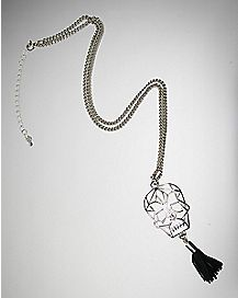 Geo Skull With Tassle Necklace