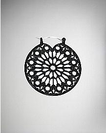 Black Lace Cutout Hoop Earrings