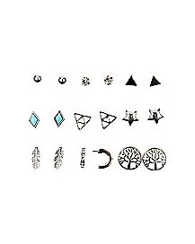 Multi-Pack Stud Earrings - 9 Pack