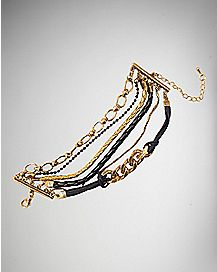 Black and Gold Multi-Chain Bracelet