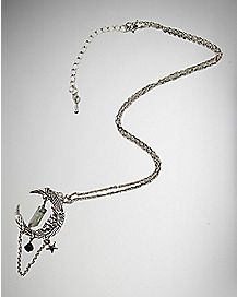 Silver Mystical Moon Charm Necklace