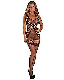 Seamless Fishnet Mini Dress