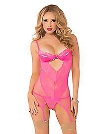 Endless Love Split Cup Chemise and Thong Panties Set