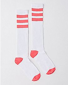 Athletic Stripe Knee High Socks - White and Pink