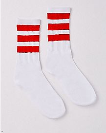 Athletic Stripe Crew Socks - White and Red