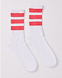 Athletic Stripe Crew Socks - White and Pink