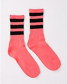 Athletic Stripe Crew Socks - Pink and Black