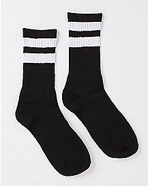 Athletic Stripe Crew Socks - Black and White