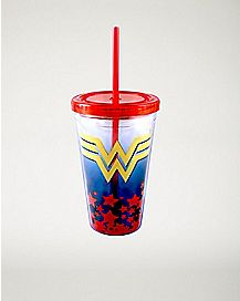 Emblem Wonder Woman Cup with Straw - 16 oz.