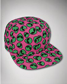 Pink Alien Heads Snapback Hat