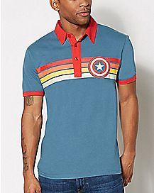 Captain America Polo T Shirt - Marvel Comics