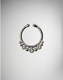Silver CZ Balls Fake Nose Ring