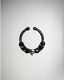 Black Skull CZ Fake Nose Ring