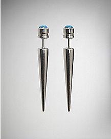 Blue Opal-Effect Faux Taper Earring - 18 Gauge