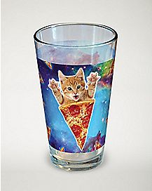 Cat Pizza Galaxy Pint Glass - 16 oz