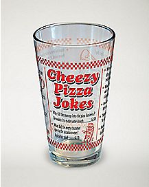 Cheezy Pizza Jokes Pint Glass - 16 oz