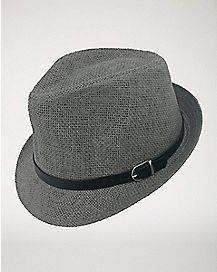 Paper Fedora with Buckle - Gray